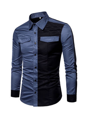 Picture of Men's Shirt Turn Down Collar Long Sleeve Color Block Patchwork Slim Top - Size: XL