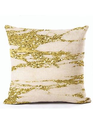 Picture of 1Pc Cushion Cover Geometric Marble Square Linen Bed Sofa Pillow Cover Pillowcase - Size: 45*45(W*L)cm