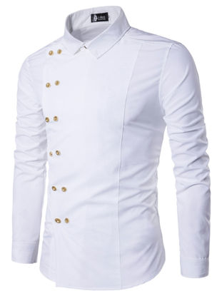 Picture of Men's Shirt Turn Down Collar Long Sleeve Solid Color Faddish Slim Top - Size: M