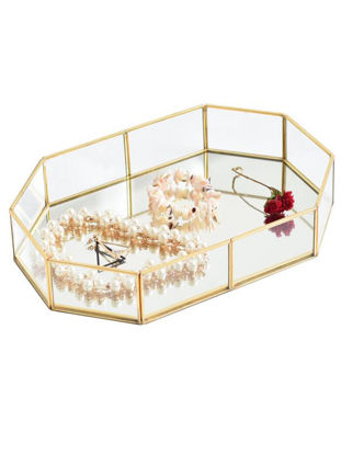 Picture of Gold Glass Storage Trays Makeup Organizer Sundries Serving Tray Dessert Plate Metal Decoration - Size: One Size