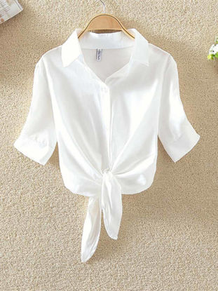 Picture of Women's Shirt Short Sleeve Bow Button Top