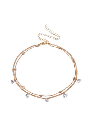 Picture of Women's Fashion Necklace Double Layer Imitation Crystals Inlay Elegant Stylish Necklace - Size: One Size