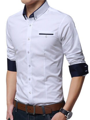 Picture of Men's Plus Size Shirt Turn Down Collar Long Sleeve Slim Fashion Top - Size: L