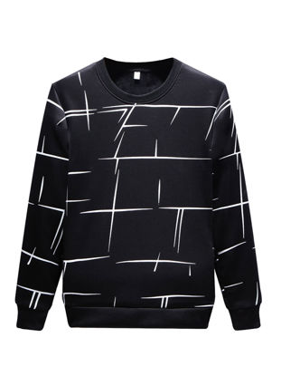Picture of Men's Geometric Printed O Neck Sweatshirt All Match Casual Long Sleeve Pullover - Size: XXL