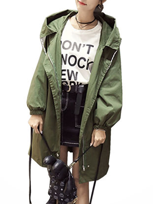Picture of Women's Trench Coat Hooded Solid Color Long Sleeve Coat - Size: S