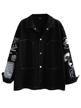 Picture of Women's Denim Coat Turn Down Collar Print Single Breasted Outwear - Size: Free