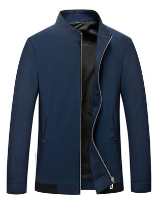 Picture of Men's Jacket Casual Style Solid Color Pockets Stand Collar Business Coat Men's Top - Size: XXL