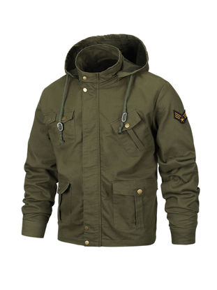 Picture of Men's Casual Jacket Hooded Fashion Long Sleeve Plus Size Jacket - Size: XXL
