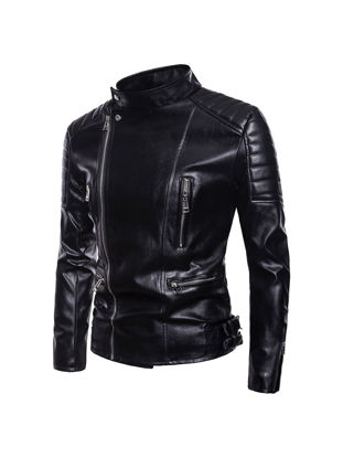 Picture of Men's Synthetic Leather Jacket Plus Size Solid Color Turn Down Collar Fashion Jacket - Size: XXL