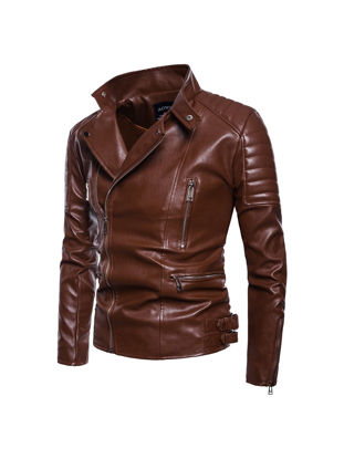 Picture of Men's Synthetic Leather Jacket Plus Size Solid Color Turn Down Collar Fashion Jacket - Size: XL