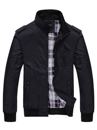 Picture of Men's Casual Jacket Stand Collar Long Sleeve Simple Mens Clothing - Size: 3XL