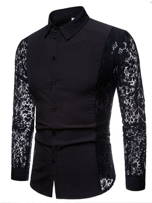Picture of Men's Lace Patchwork Shirt Fashion Simple Solid Color Long Sleeve Turn Down Collar Casual Top - Size: XXL
