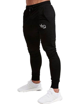 Picture of Men's Casual Pants Solid Color Pocket Decor Letter Pattern Ankle Tied Pants - Size: M