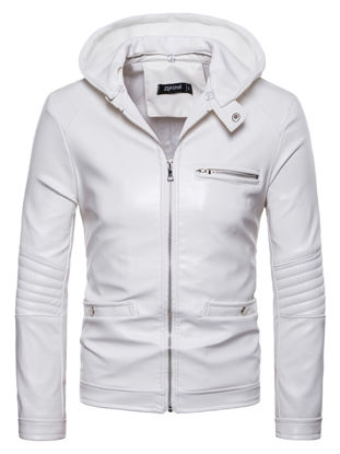 Picture of Men's Synthetic Leather Jacket Long Sleeve Hooded Fashion Coat - Size: L