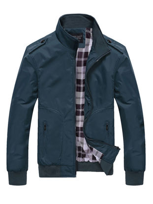 Picture of Men's Casual Jacket Zipper Solid Color Stand Collar Patchwork Stylish Plus Size Jacket - Size: M