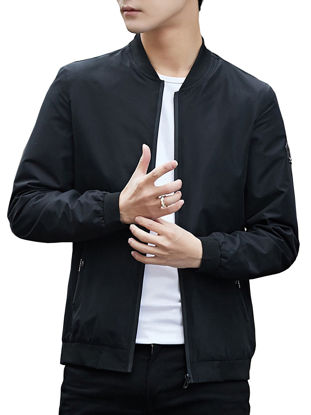 Picture of Men's Casual Jacket Zipper Solid Color Stand Collar Patchwork Stylish Anti-Friction Jacket - Size: 3XL
