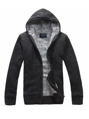 Picture of Men's Cardigan Hooded Long Sleeve Solid Color Brushed Warm Knitwear - Size: XL