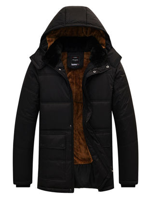 Picture of Men's Down Coat Casual Hooded Long Sleeve Solid Color Zipper Decor Warm Down Coat - Size: 3XL