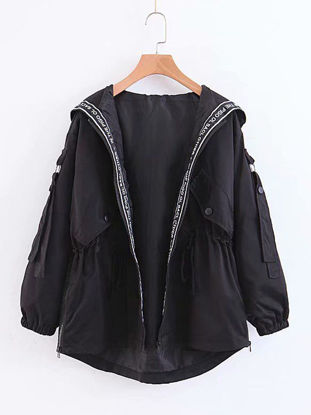 Picture of Women's Trench Coat Button Hooded Letter Long Sleeve Coat - Size: S