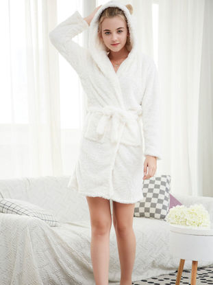 Picture of Women's Sleep Robe Long Sleeve Cute Cartoon Hooded Flannel Warm Home Robe - Size: Free