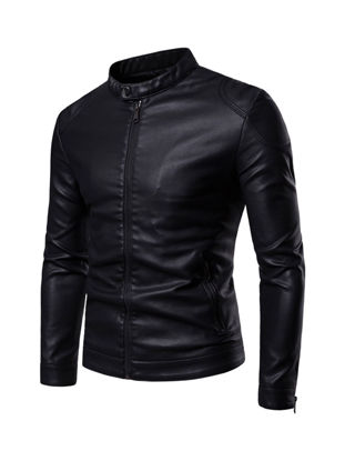 Picture of Men's Synthetic Leather Jacket Stand Collar Solid Color Slim Jacket - Size: XL