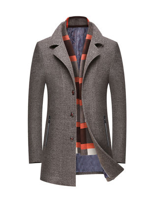 Picture of Men's Wool Blend Coat Notched Neck Single Breasted Casual Warm Overcoat - Size: 3XL