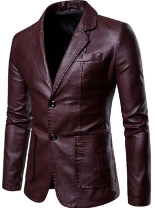 Picture of Men's Synthetic Leather Jacket Solid Color Notched Collar Long Sleeve Jacket - Size: 3XL