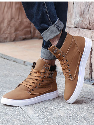 صورة Men's Fashion Sneakers Letters Print High Top Stylish Wearable Shoes - Size: 43