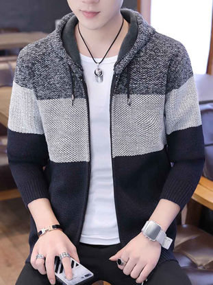 Picture of Men's Cardigan Casual Patchwork Long Sleeve Hooded Knitwear - Size: 3XL