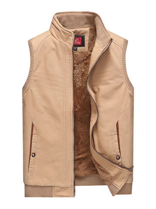 Picture of Men's Casual Jacket Zipper Opening Stand Collar Pockets Warm Jacket - Size: 4XL
