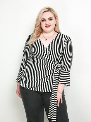 Picture of Women's Plus Size T Shirt Striped Long Sleeve V Neck Top - Size: 7XL