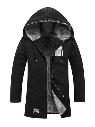 Picture of Men's Quilted Coat Hooded Plush Patchwork Zipper Coat - Size: M