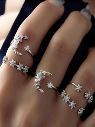 Picture of 5 Pcs Women's Ring Set Rhinestone Decor Durable Vintage Fashion Rings Accessory - Size: One Size