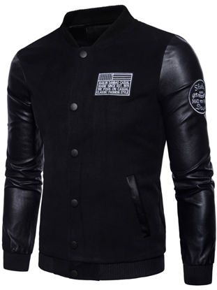 Picture of Men's Causal Jacket Patchwork Buttons Opening Outdoor Jacket - Size: XXL