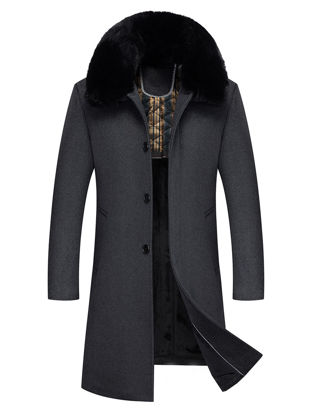 Picture of Men's Wool Blends Coat Plush Collar Single Breasted Business Warm Overcoat - Size: L