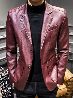 Picture of Men's Synthetic Leather Jacket Solid Color Long Sleeve Button Decor Classic Jacket - Size: M