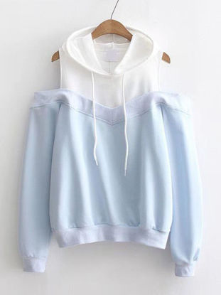 Picture of Women's Hoodie Long Sleeve Patched Color Block Hollow Shoulder Hoodie - Size: M