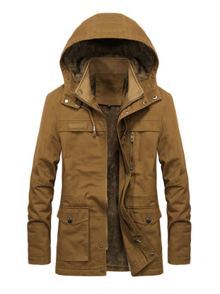 Picture of Men's Casual Jacket Fashion Thicken Hooded Long Sleeve Jacket - Size: L