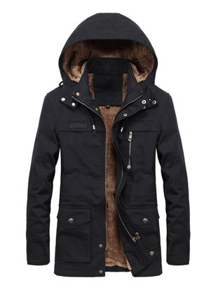Picture of Men's Casual Jacket Fashion Thicken Hooded Long Sleeve Jacket - Size: XXL