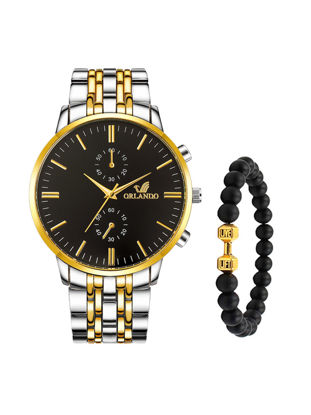 Picture of Men's Fashion Watch Double Dial Stainless Steel Business Watch With A Beaded Bracelet Set - Size: One Size