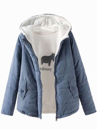 Picture of Women's Quilted Coat Solid Color Pocket Hooded Coat - Size: XL