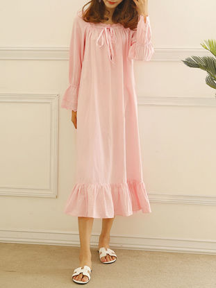 Picture of Women's Sleep Dress Solid Color Flare Sleeve Ruffles Loose Home Dress - Size: XS