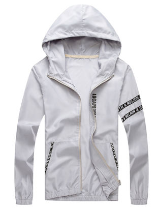 Picture of Men's Sun-protective Coat Letter Print Long Sleeve Hooded Coat - Size: M