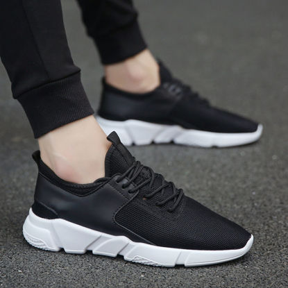 صورة Men's Sports Fashion Shoes Solid Color Lacing Comfy Running Shoes - Size: 38