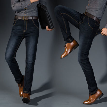 Picture of Men's Jeans Solid Color Mid Waist Straight Jeans - Size: 30