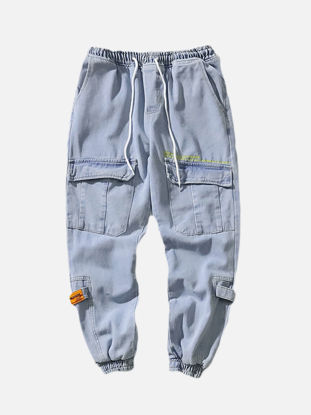 Picture of Men's Jeans Drawstring Waist Patchwork Large Pockets Ankle-tied Pants - Size: M