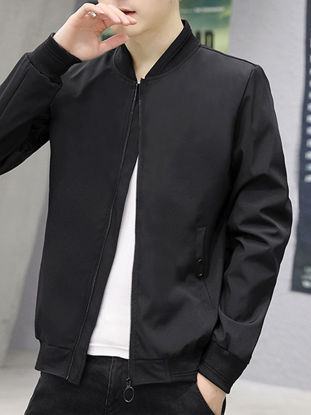 Picture of Men's Bomber Jacket Stand Collar Long Sleeve Embroidery Patchwork Jacket - Size: L