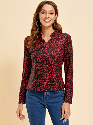 Picture of Women's Shirt Loose Long Sleeve V Neck Top - Size: L