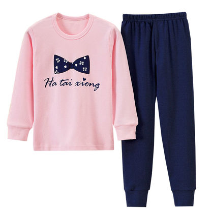 Picture of Toddler Girls Kid's 2Pcs Pajamas Set Cartoon Bow Pattern Top Casual Pants Home Set - Size: Reference Height:140cm