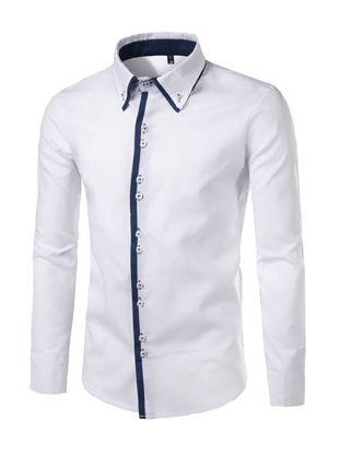 Picture of Men's Shirt Color Block Patchwork Long Sleeve Breathable Business Top - Size: M